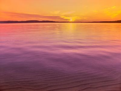 Scenic view of lake at dusk, Sand Point, Pictured Rocks National Lakeshore, Upper Peninsula, Alg...--Photographic Print