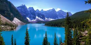 Scenic View of Moraine Lake by Mountains in Banff National Park, Calgary, Alberta, Canada