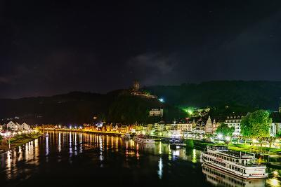 Scenic View of the Moselle River and Cochem at Night-Babak Tafreshi-Photographic Print