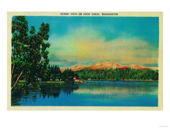 Scenic Vista on Hood Canal - Hood Canal, WA-Lantern Press-Art Print