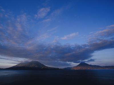 Scenic Volcanos at Sunset, Lake Atitlan, Guatemala-John & Lisa Merrill-Photographic Print
