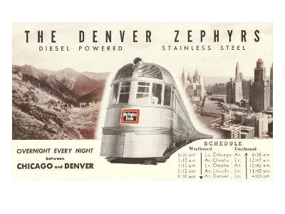 Schedule for Denver Zephyr Train--Art Print