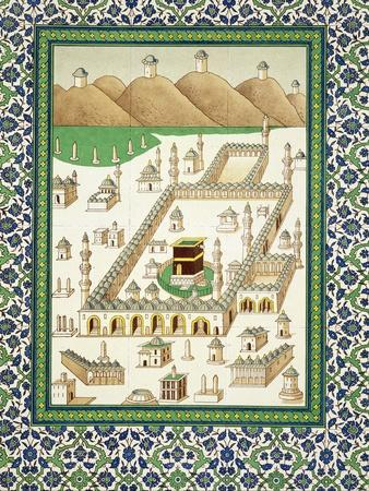 Schematic View of Mecca, Showing the Qua'Bah, from a Book on Persian Ceramics