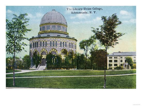 Schenectady, New York - Exterior View of Union College Library-Lantern Press-Art Print