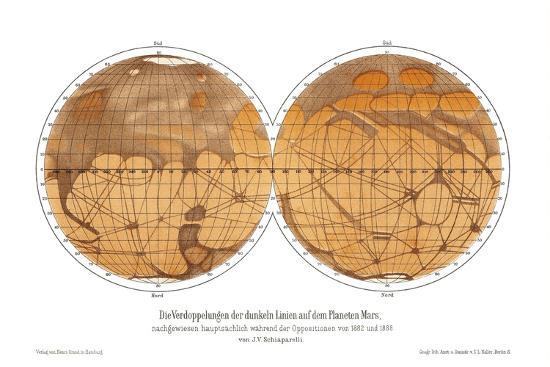 Schiaparelli's Map of Mars, 1882-1888-Detlev Van Ravenswaay-Photographic Print