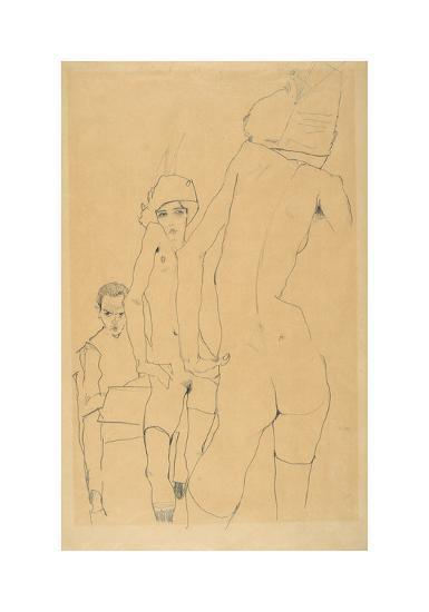 Schiele, Drawing a Nude Model before a Mirror, 1910-Egon Schiele-Premium Giclee Print