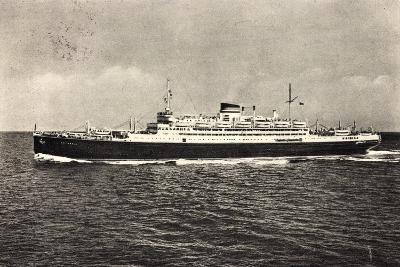 Schiff Saturnia Der Italian Line Auf Dem Meer, 1954--Giclee Print