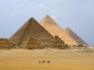 Pyramids of Giza, Giza, UNESCO World Heritage Site, Near Cairo, Egypt, North Africa, Africa by Schlenker Jochen