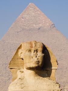 Sphynx and the Pyramid of Khafre, Giza, Near Cairo, Egypt by Schlenker Jochen