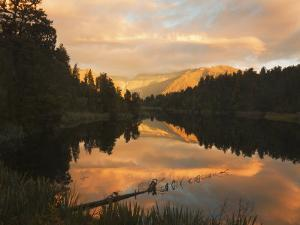 Sunset, Lake Matheson and Southern Alps, Westland, South Island, New Zealand, Pacific by Schlenker Jochen