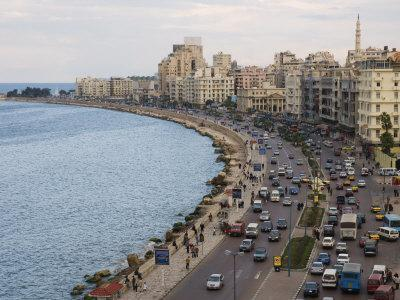 Waterfront and Sharia 26th July, Alexandria, Egypt, North Africa, Africa