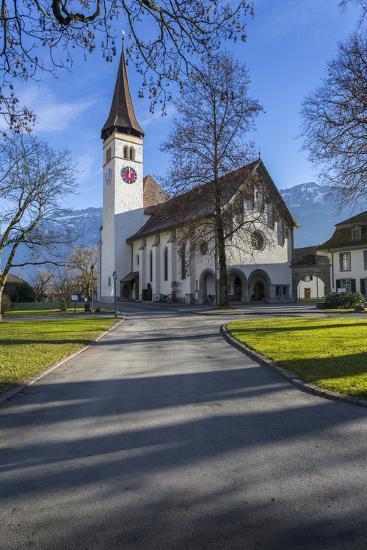 Schlosskirche Interlake, Interlaken, Jungfrau region, Bernese Oberland, Swiss Alps, Switzerland, Eu-Frank Fell-Photographic Print