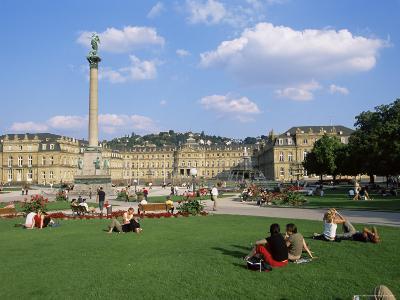 Schlossplatz, King Wilhelm Jubilee Column, Neues Schloss, Stuttgart, Baden Wurttemberg, Germany-Yadid Levy-Photographic Print
