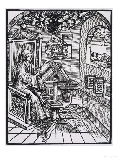 Scholar with an Interest in Astronomy Reading in His Study--Giclee Print