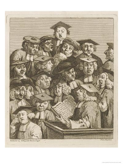 Scholars at a Lecture, Display Various Symptoms of Boredom-William Hogarth-Giclee Print