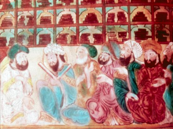 Scholars in the Abode of Wisdom, a science academy, Baghdad, Iraq, 14th century. Artist: Unknown-Unknown-Giclee Print