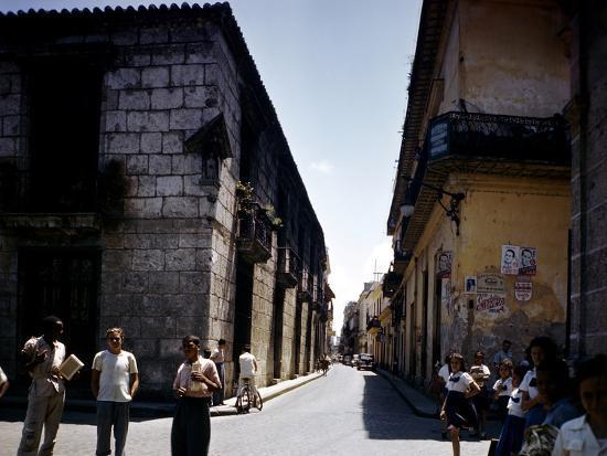 School Children and Passersby on St Ignaco Street in Havana, Cuba-Eliot Elisofon-Photographic Print