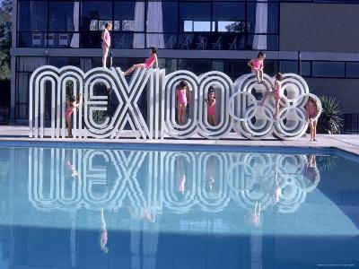 """School Children Playing on Olympic Logo """"Mexico 68"""" Beside Pool-John Dominis-Photographic Print"""