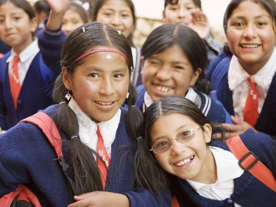School Kids on Field Trip to Museums on Calle Jaen, La Paz, Bolivia-Brent Winebrenner-Photographic Print