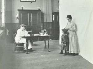 School Nurse Examining Girls Hair for Head Lice, Chaucer School, London, 1911