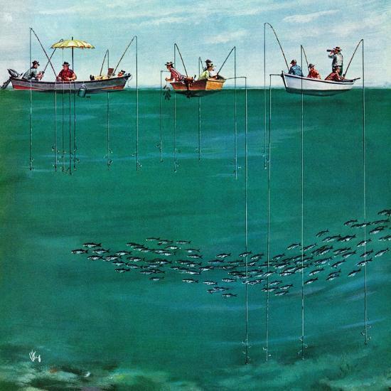 """School of Fish Among Lines"", August 7, 1954-Thornton Utz-Giclee Print"