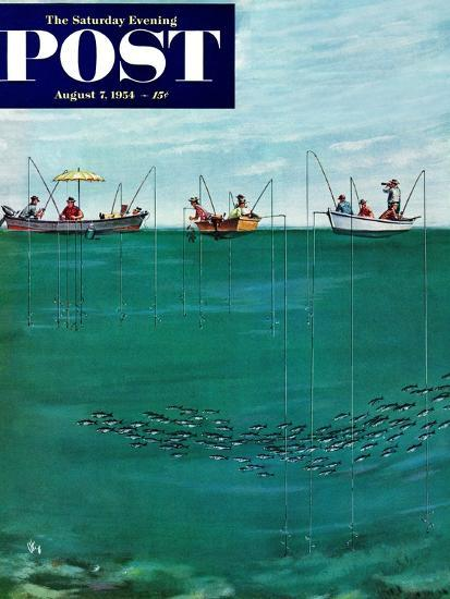 """""""School of Fish Among Lines"""" Saturday Evening Post Cover, August 7, 1954-Thornton Utz-Giclee Print"""