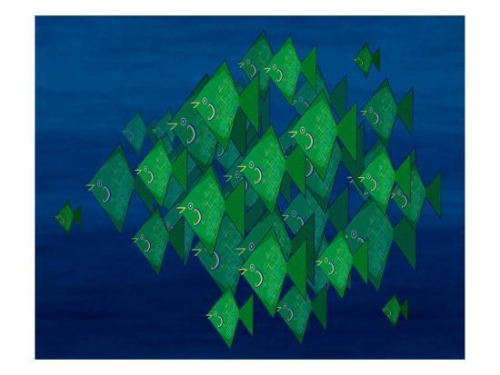 School of Green Triangle Fish on Blue Underwater Background-Rich LaPenna-Giclee Print