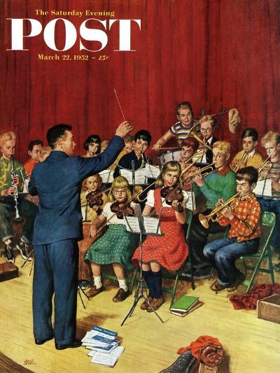 """""""School Orchestra"""" Saturday Evening Post Cover, March 22, 1952-Amos Sewell-Giclee Print"""
