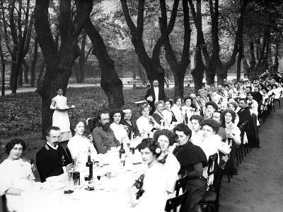 Schoolgirls of the Nicholas Orphanage Institute at an Al Fresco School-Leaving Lunch, 1913--Photographic Print