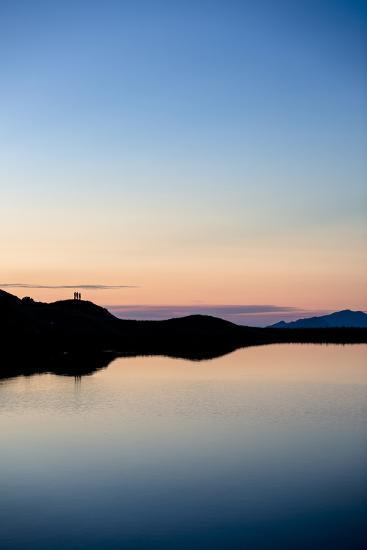 Schrecksee, Allgäu, Bavaria, GER: 3 Hikers Enjoying Sunset At Schrecksee, In The Allgäu Alps-Axel Brunst-Photographic Print