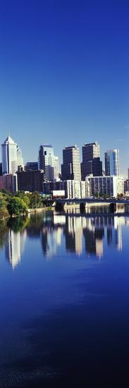 Schuylkill River with skyscrapers in the background, Philadelphia, Pennsylvania, USA--Photographic Print