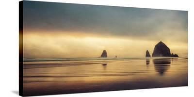 Schwartz - Haystack Sunset-Don Schwartz-Stretched Canvas Print