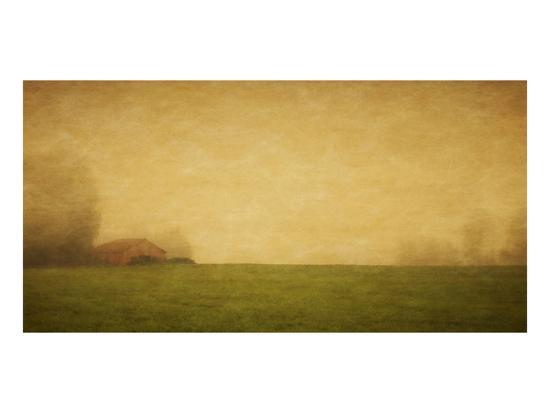 Schwartz - Red Barn in the Fog-Don Schwartz-Art Print