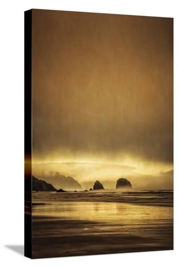 Schwartz - Sea Stacks at Sunset-Don Schwartz-Stretched Canvas Print