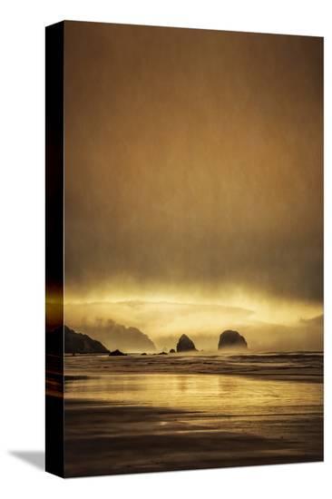 Schwartz - Sea Stacks at Sunset-Don Schwartz-Stretched Canvas Print