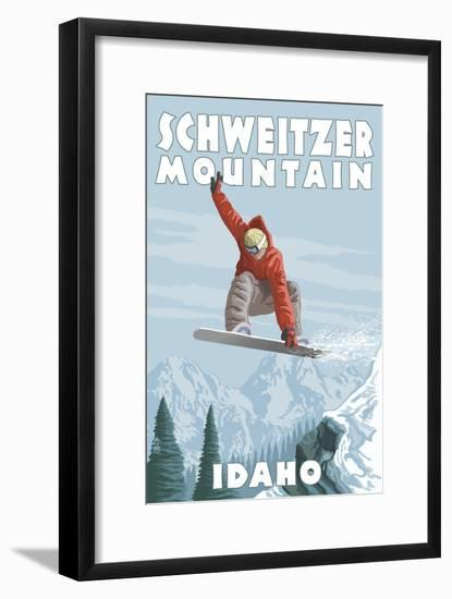 Schweitzer Mountain, Idaho - Snowboarder Jumping-Lantern Press-Framed Art Print