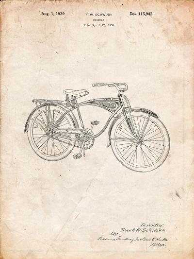 Schwinn 1939 BC117 Bicycle Patent-Cole Borders-Art Print