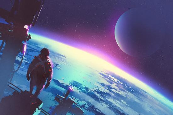 Sci-Fi Concept of the Man Looking at a Surface of the Earth from a Space,Illustration Painting-Tithi Luadthong-Art Print