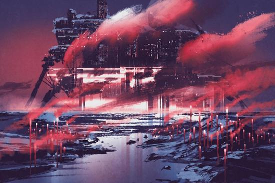 Sci-Fi Scene of Industrial City,Illustration Painting-Tithi Luadthong-Art Print
