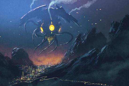 Sci-Fi Scene of the Alien Ship Invading Night City,Illustration Painting-Tithi Luadthong-Art Print