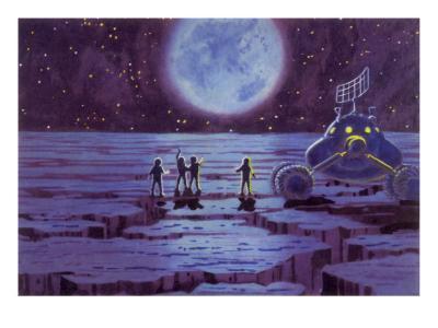 Sci Fi - Spacemen on Blue Alien Planet, 1966--Giclee Print