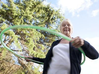 Senior Woman Hula-hooping