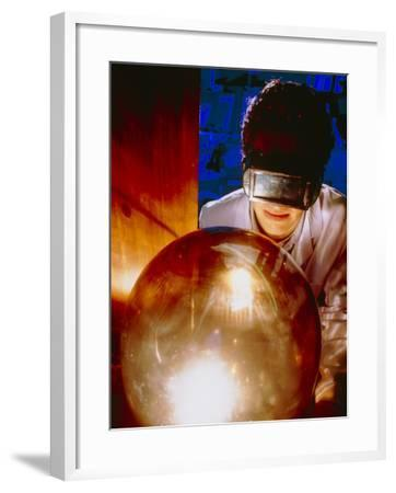 Scientist with Belljar for Making Buckyballs (C60)-Geoff Tompkinson-Framed Photographic Print