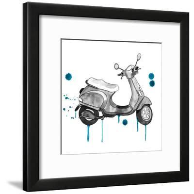 Scooter Away Blue Accents-Sam Nagel-Framed Art Print
