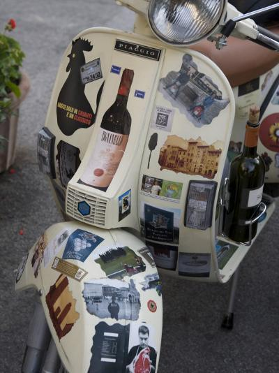 Scooter Covered with Wine Labels and Stickers-Keenpress-Photographic Print