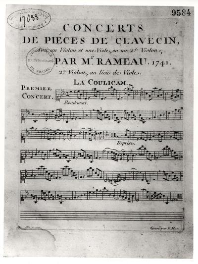 """Score Sheet for """"Concerts De Pieces De Clavecin"""" by Jean-Philippe Rameau (1683-1764) 1741-L. Hue-Giclee Print"""