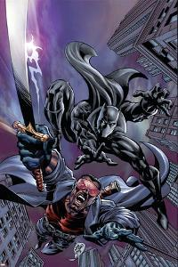 Black Panther No.12 Cover: Black Panther and Blade by Scot Eaton