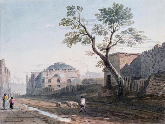 Scotch Church and the Remains of London Wall, 1818-John Varley-Giclee Print