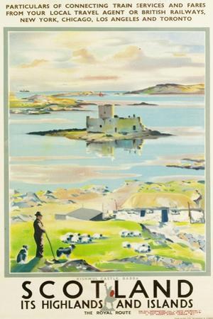 Scotland, Kishmul Castle Isle of Barra, Poster Advertising British Railways, 1952