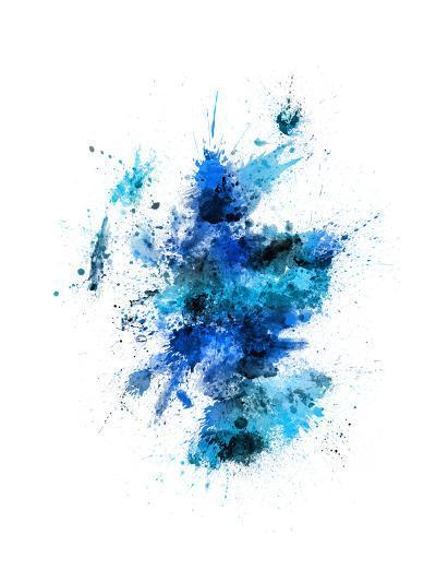 Scotland Paint Splashes Map-Michael Tompsett-Art Print